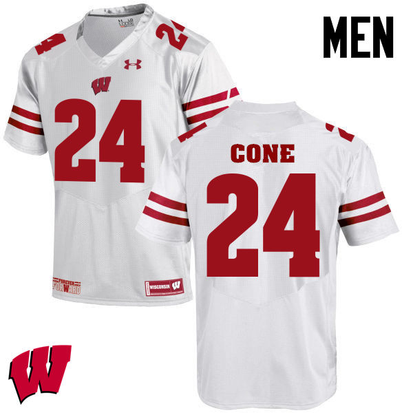 Men Winsconsin Badgers #24 Madison Cone College Football Jerseys-White